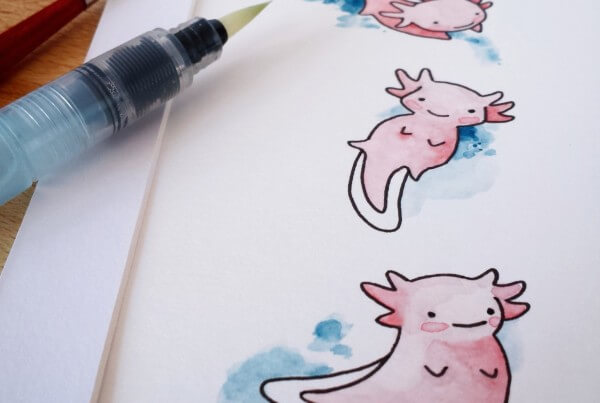 Aquarellbild mit drei Axoloteln
