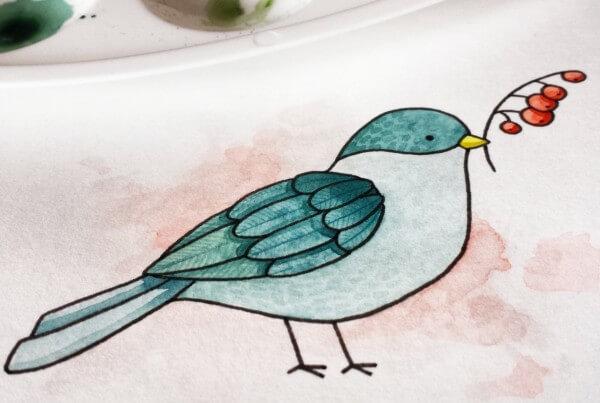 Aquarellbild eines Vogels
