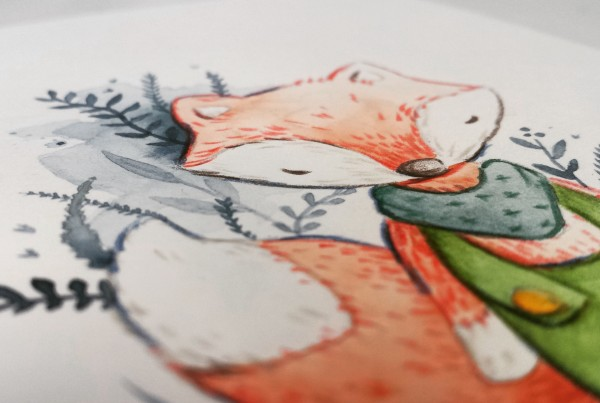 Aquarellbild eines Fuchs