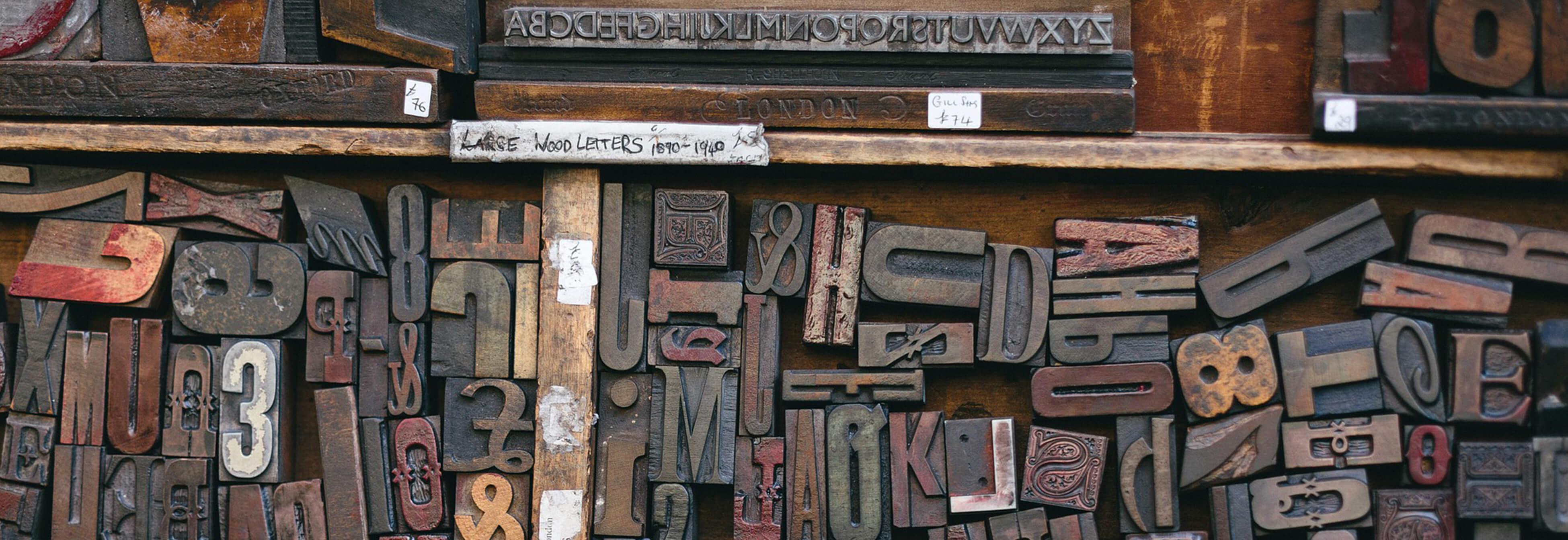 Bild von Blei-Buchstaben für den Buchdruck